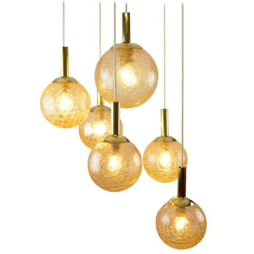 DORIA crackle glass globes chandelier 6 amber cascading pendant lamps brass tubes 1970s Germany