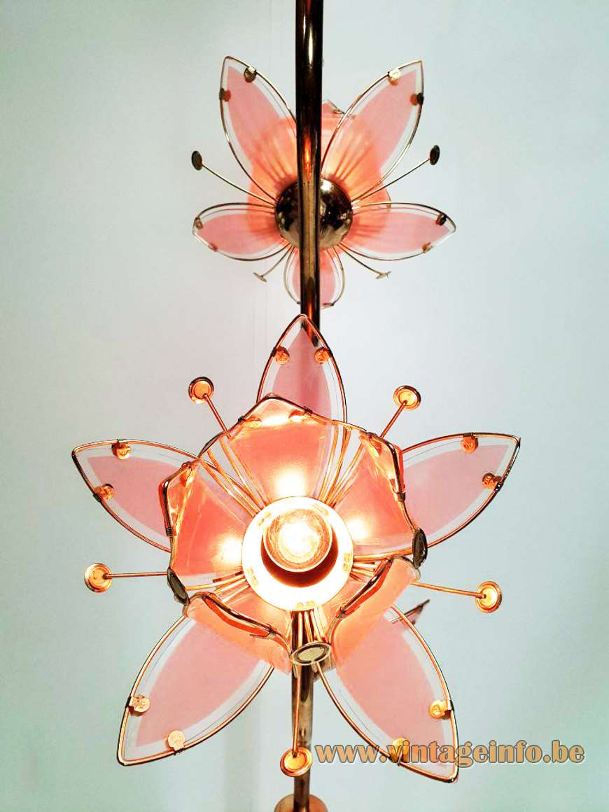 Lotus flowers floor lamp pink glass brass plated iron long curved rod 1990s Hong Kong The Home Depot USA Massive Belgium