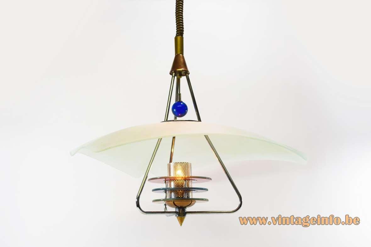 Neukro-Menden kite pendant lamp triangular glass disk blue globe metal discs 1980s 1990s Germany
