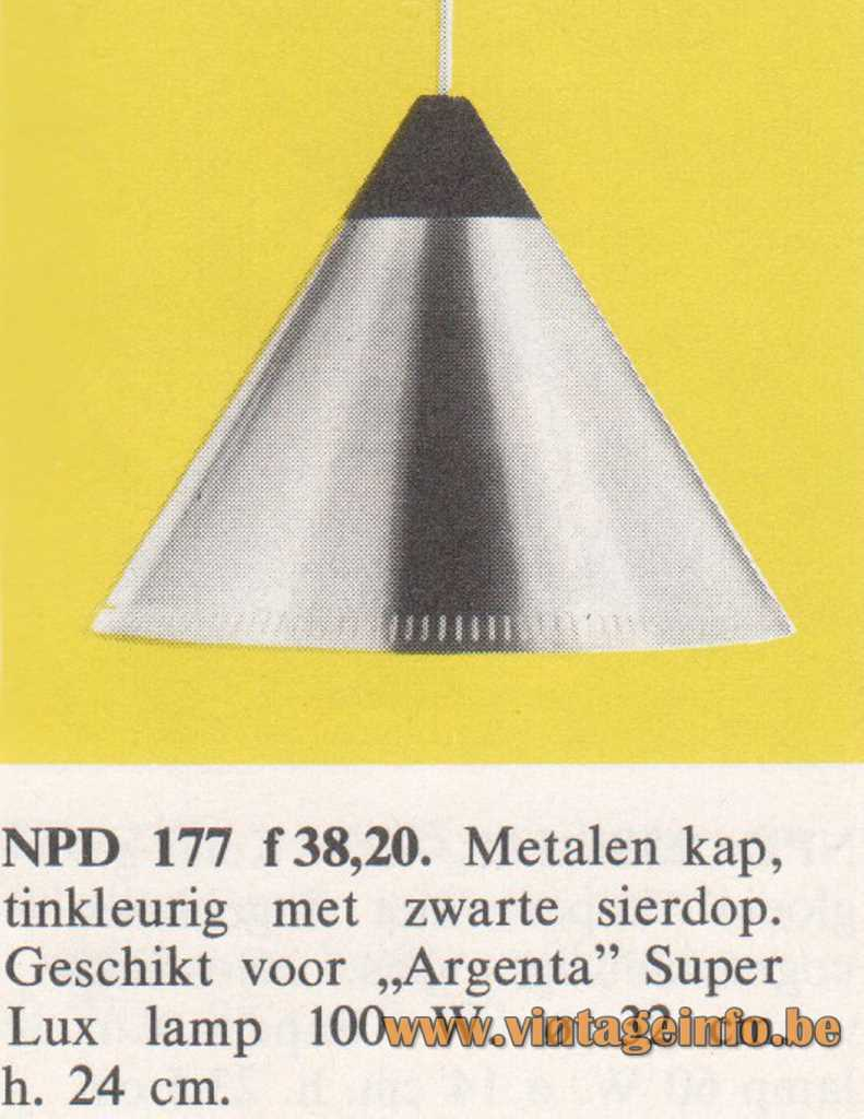 Philips NPD 177 Conical Pendant Lamp in the 1968 catalogue