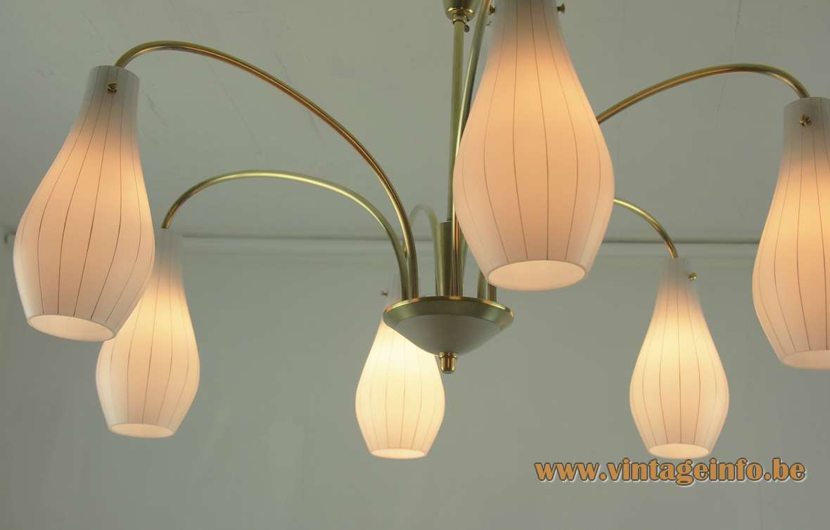 Rupert Nikoll 1950s chandelier pumpkin style striped glass lampshades curved brass rods 1960s Austria E14 sockets