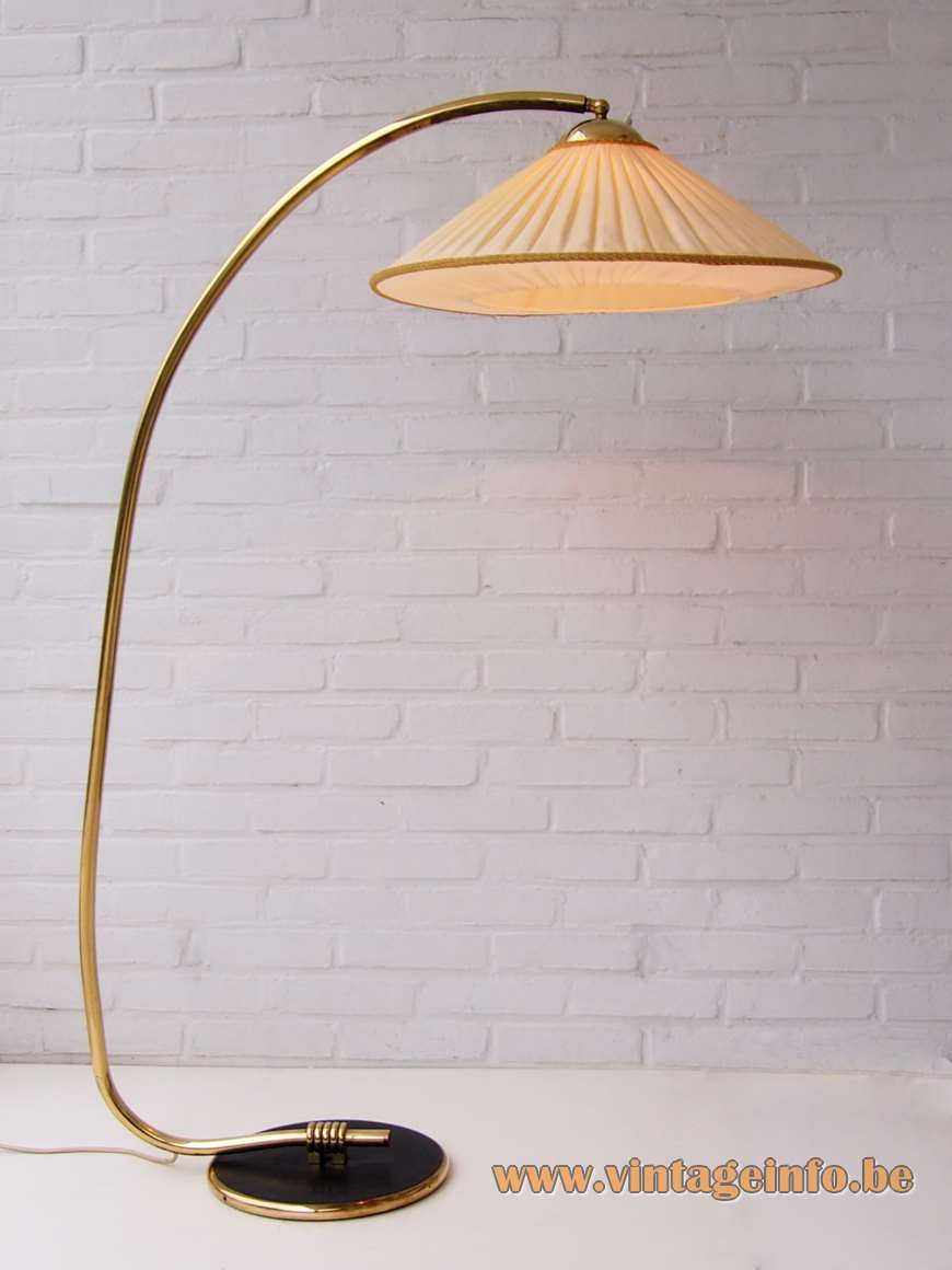Rupert Nikoll 1950s floor lamp round black base brass curved rod conical fabric lampshade 1960s Austria