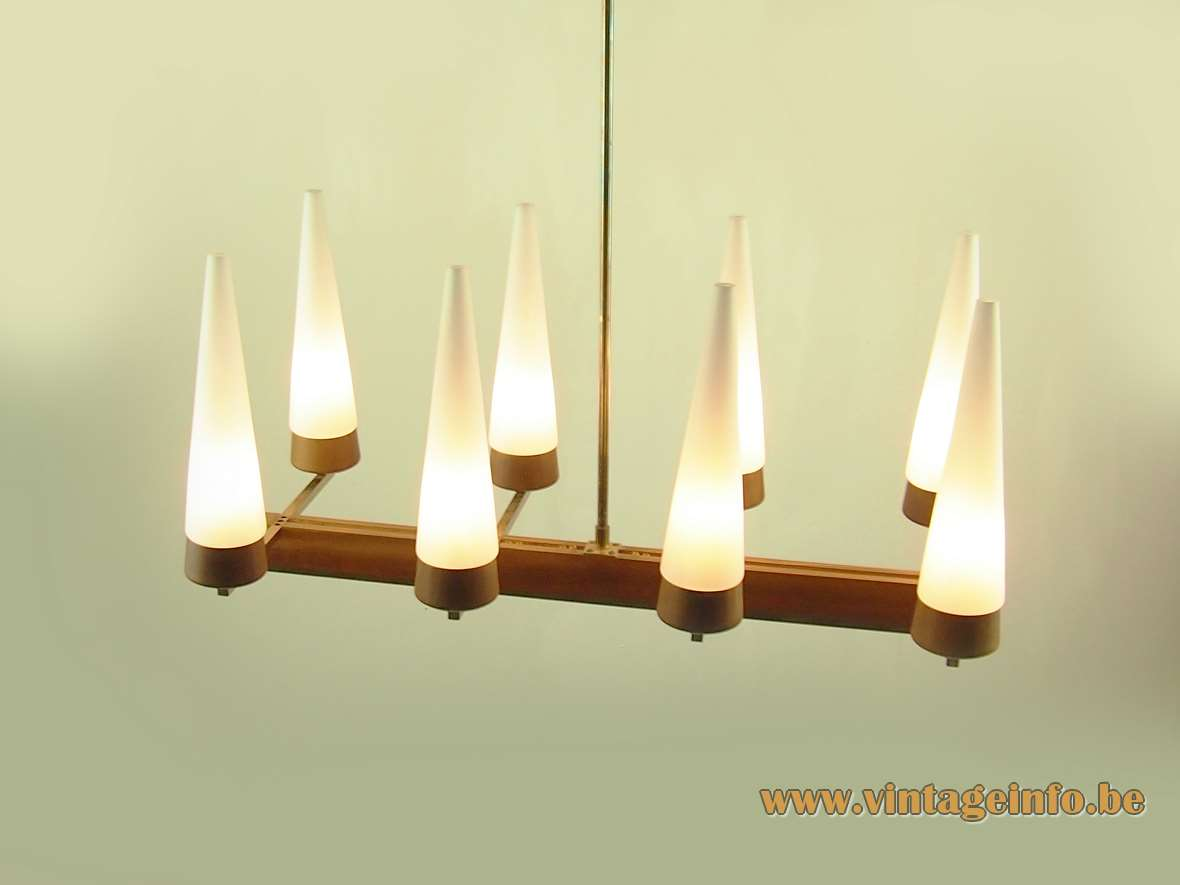 Rupert Nikoll candle chandelier conical tubular white opal glass rosewood 1950s 1960s Mid-Century Modern MCM Austria