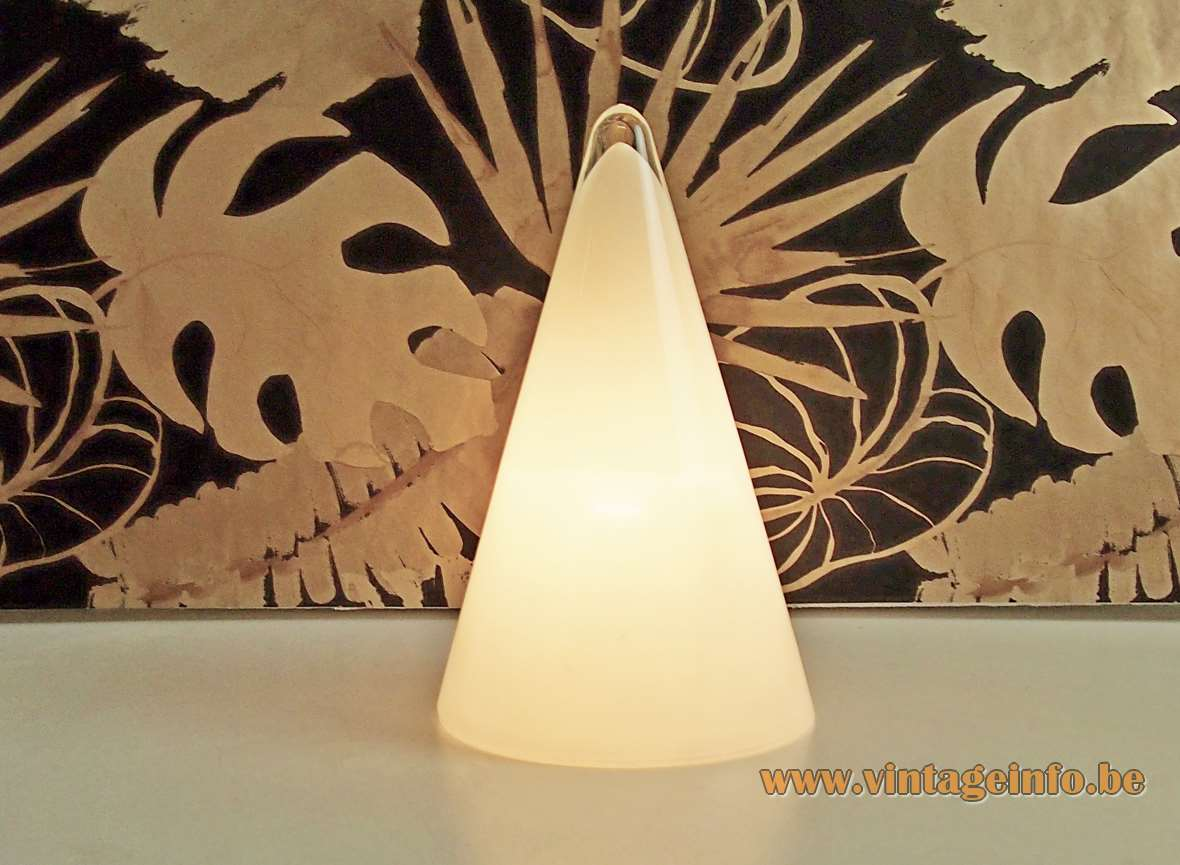 Teepee glass table lamp conical opal pyramid style light clear top 1990s SCE France Ilu Design