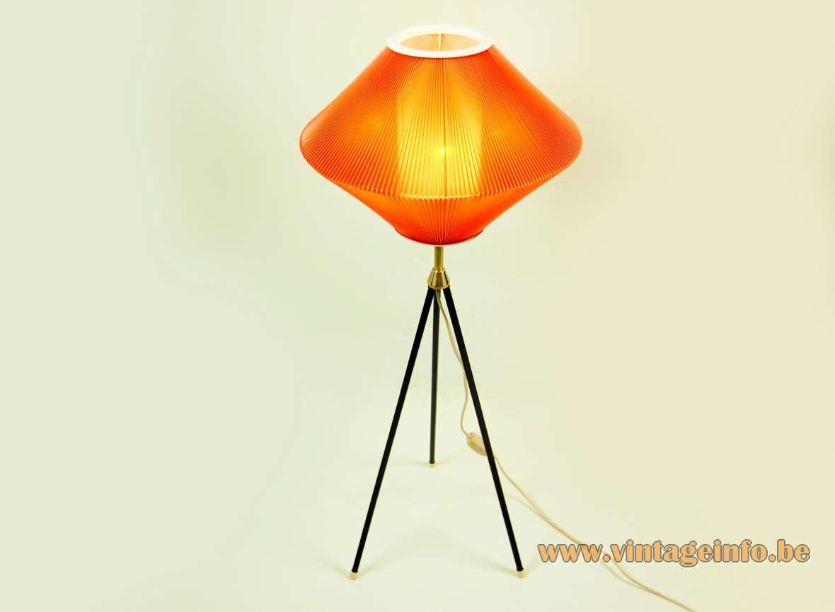 Tripod celluloid floor lamp diamond shaped folded plastic Rhodoïd lampshade black rods Aro Leuchte 1960s 1970s