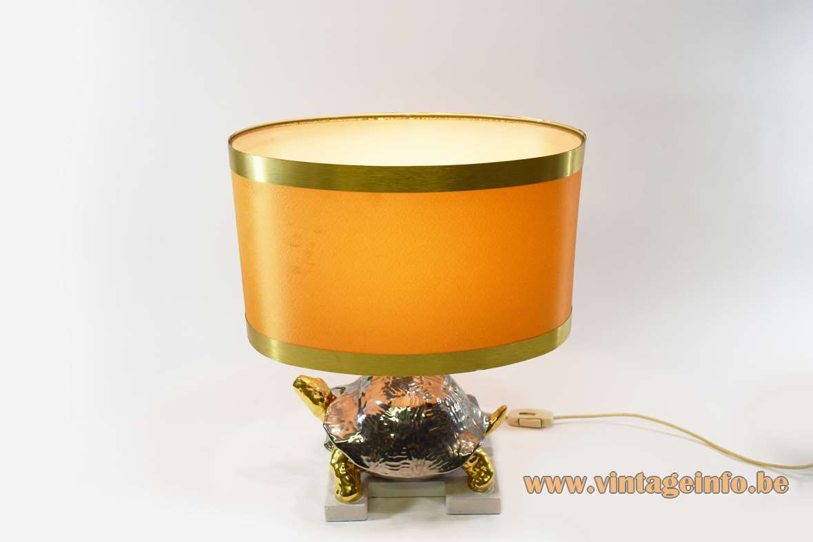 Zaccagnini turtle table lamp silver and gold painted ceramics 1970s 1980s Hollywood Regency Italy kitsch