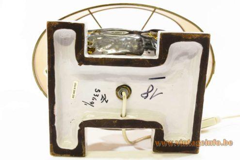 Zaccagnini Turtle Table Lamp - Signature and label