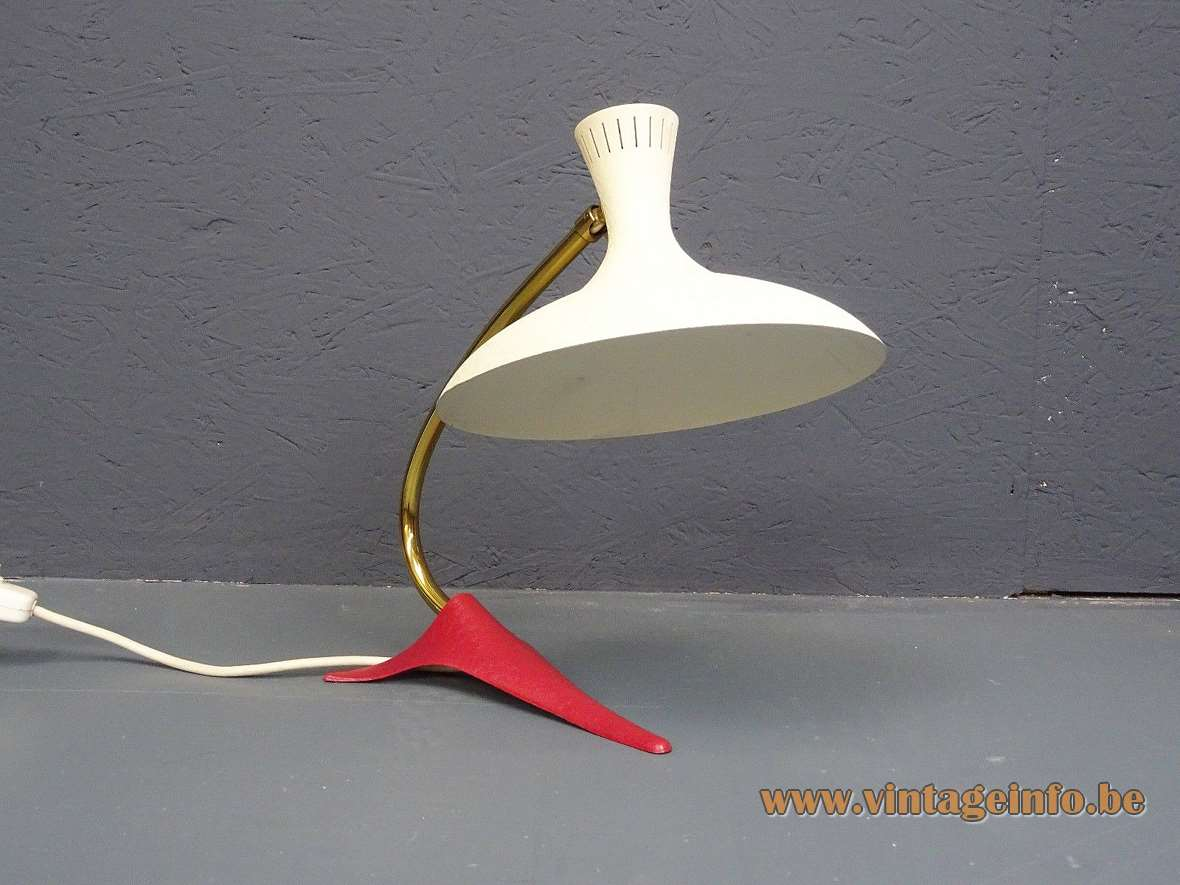 1950s Cosack diabolo desk lamp orange-red tripod crowfoot base curved brass rod white lampshade 1960s