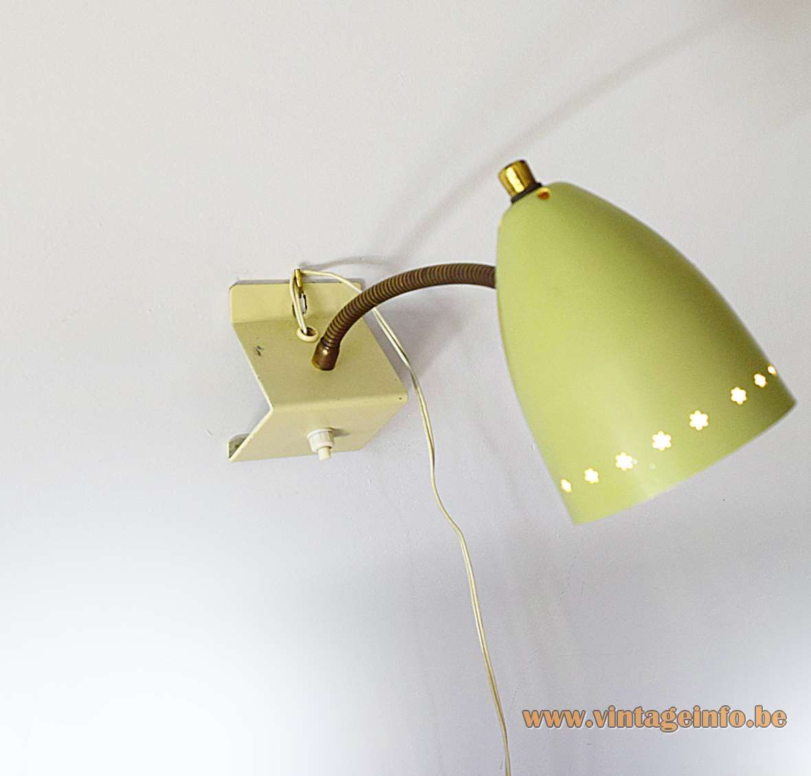 1950s Hala Perforated Stars Wall Lamp olive green brass gooseneck aluminium lampshade MCM 1960s