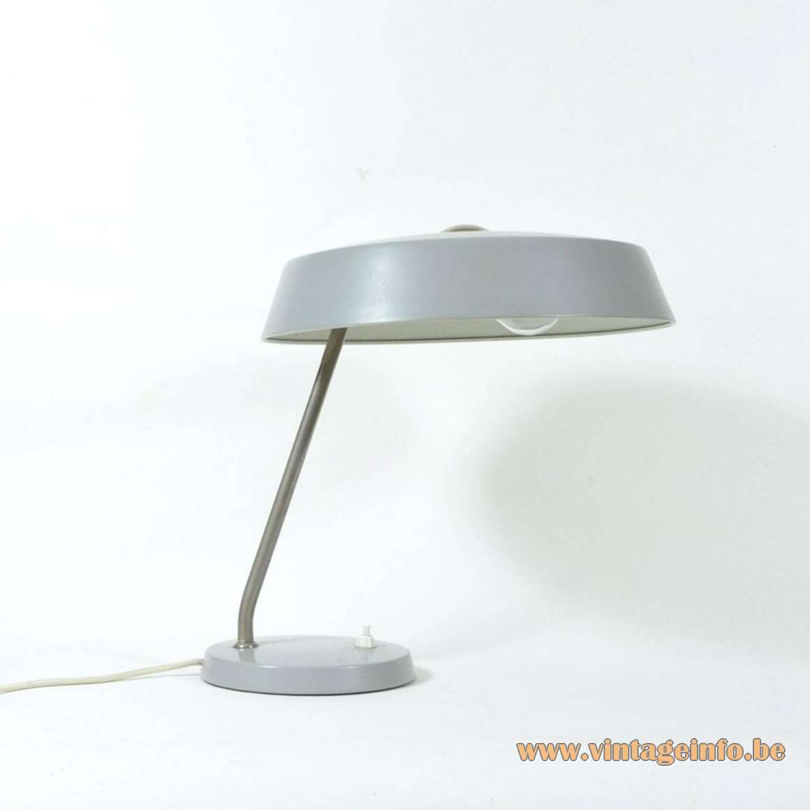 1960s Louis Kalff Style Desk Lamp VEB Leuchtenbau Lengefeld East German table lamp metal mushroom MCM