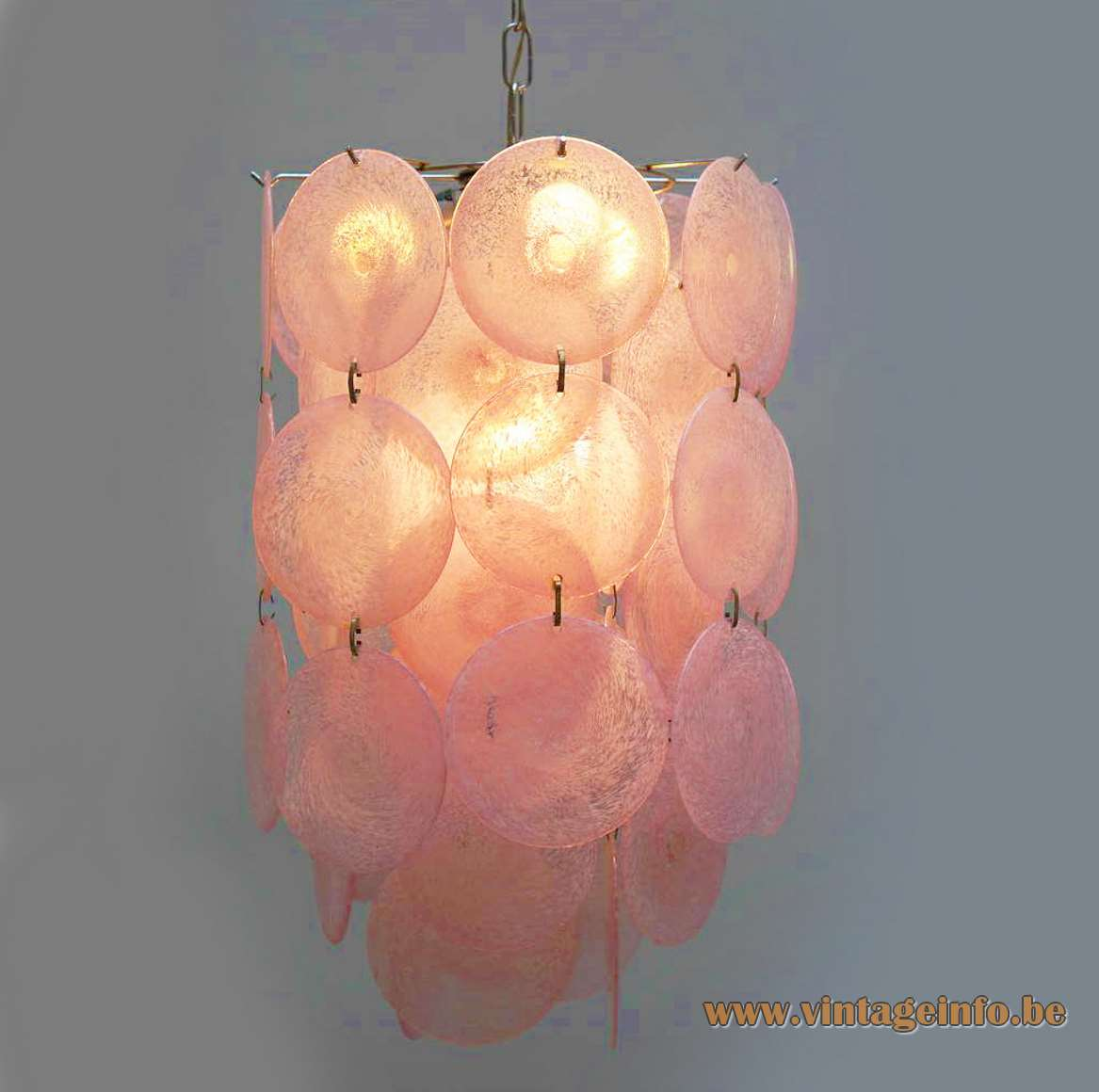 1960s Murano discs chandelier 54 pink glass dishes chrome wire frame AV Mazzega Vistosi 1960s 1970s