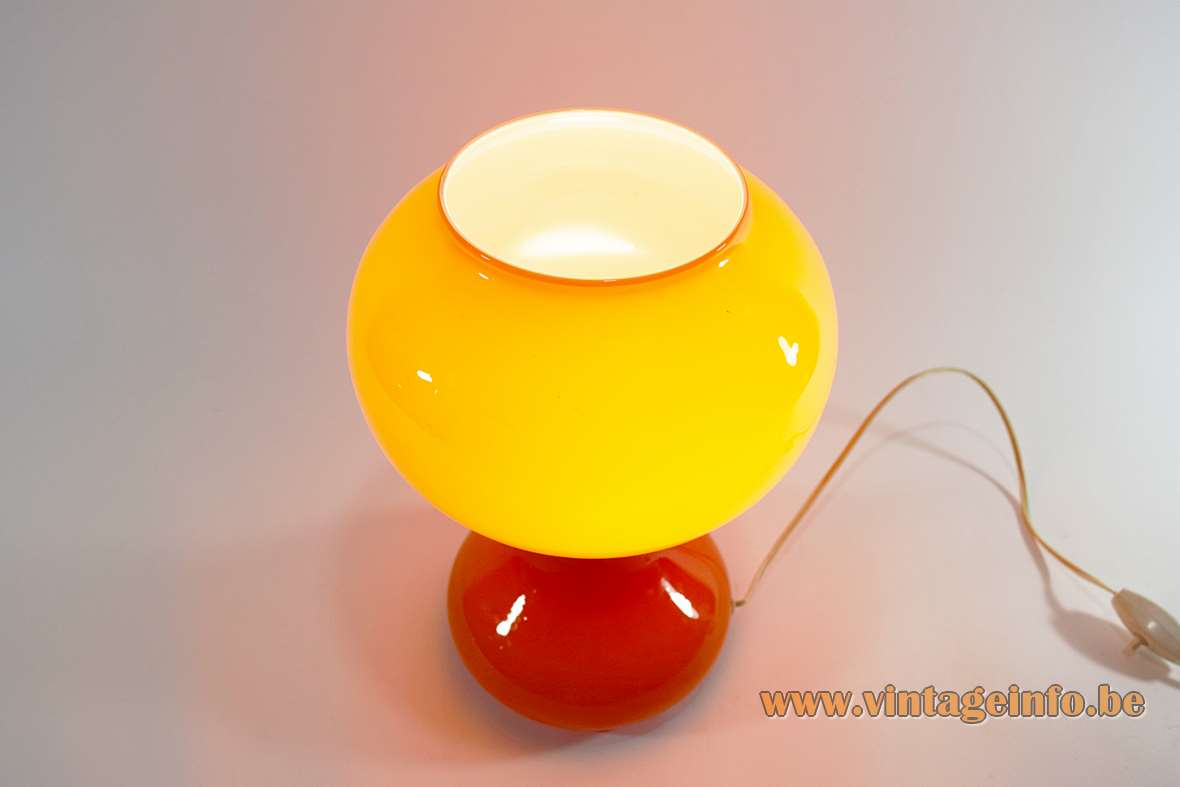 1960s orange glass table lamp made by Massive from Belgium in a Murano style 1960s 1970s