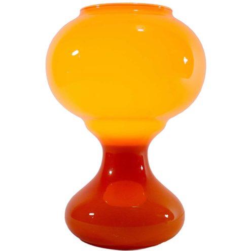 1960s orange glass table lamp curved globe Murano style lampshade Massive Belgium 1960s 1970s E27 socket