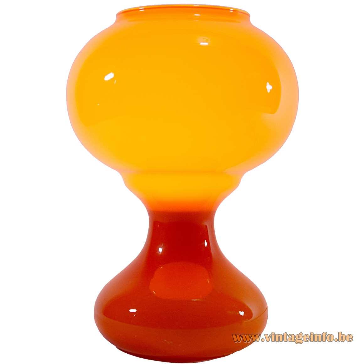 1960s Orange Glass Table Lamp incamiciato Murano 1960s Massive MCM 1970s