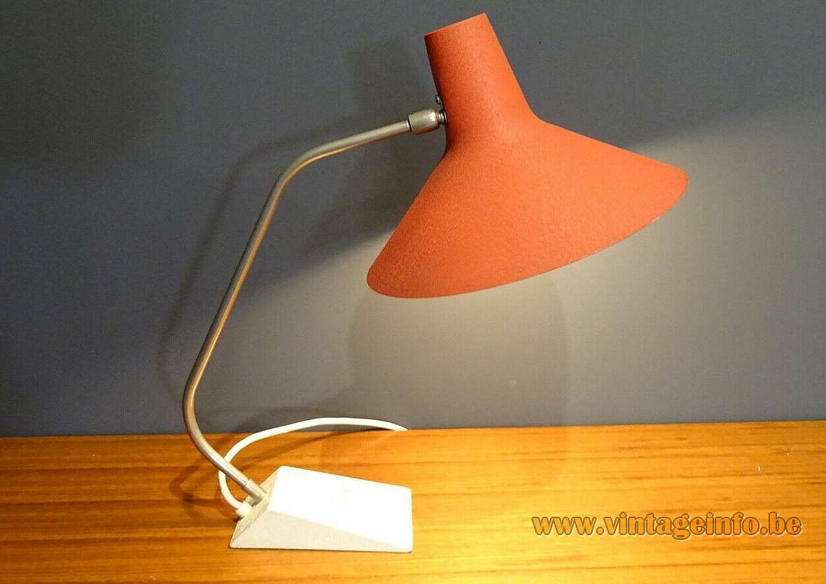 1960s SIS witch hat desk lamp wrinkle paint base curved brass rod conical lampshade Germany