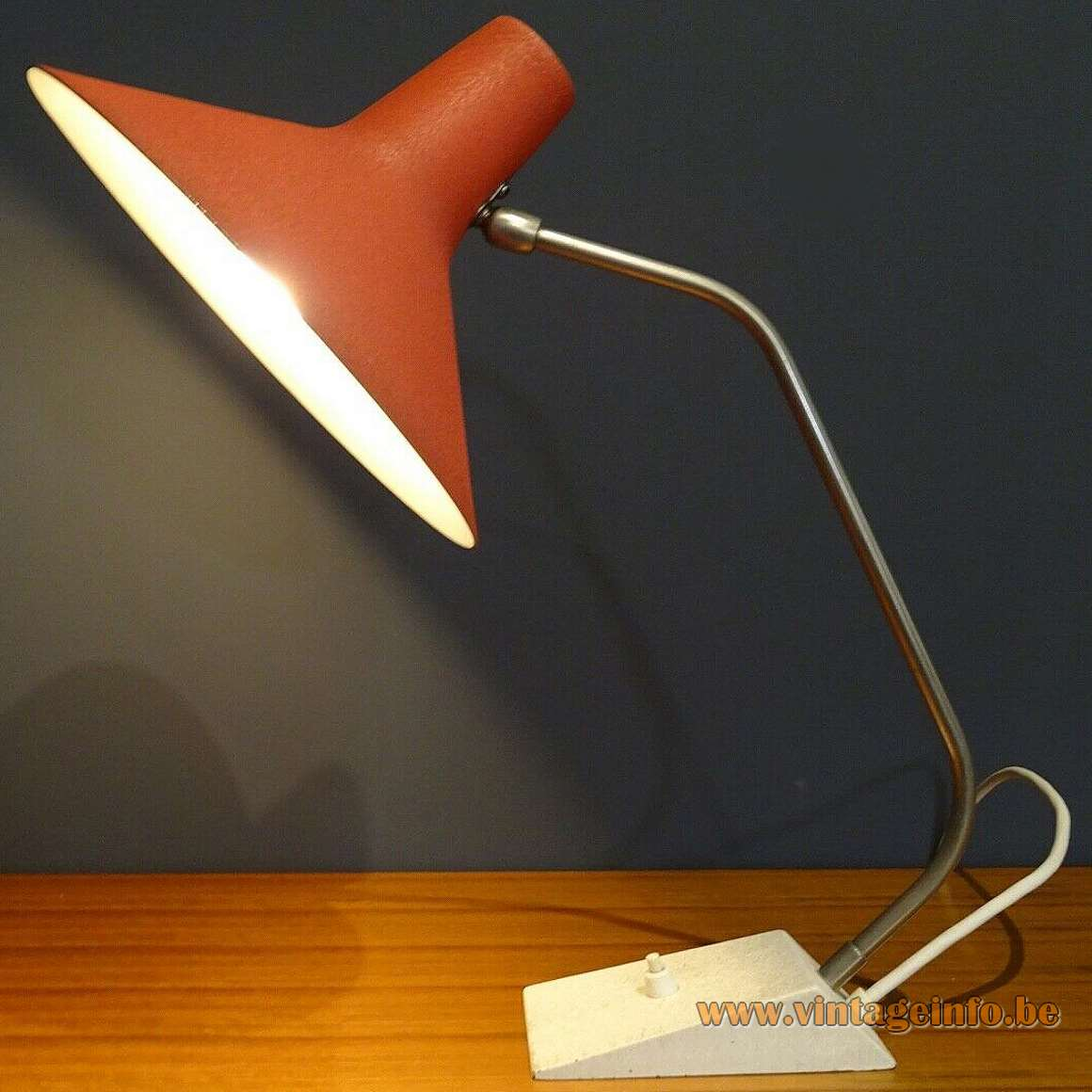 1960s SIS Witch Hat Desk Lamp wrinkle paint curved brass rod 1950s MCM model 63
