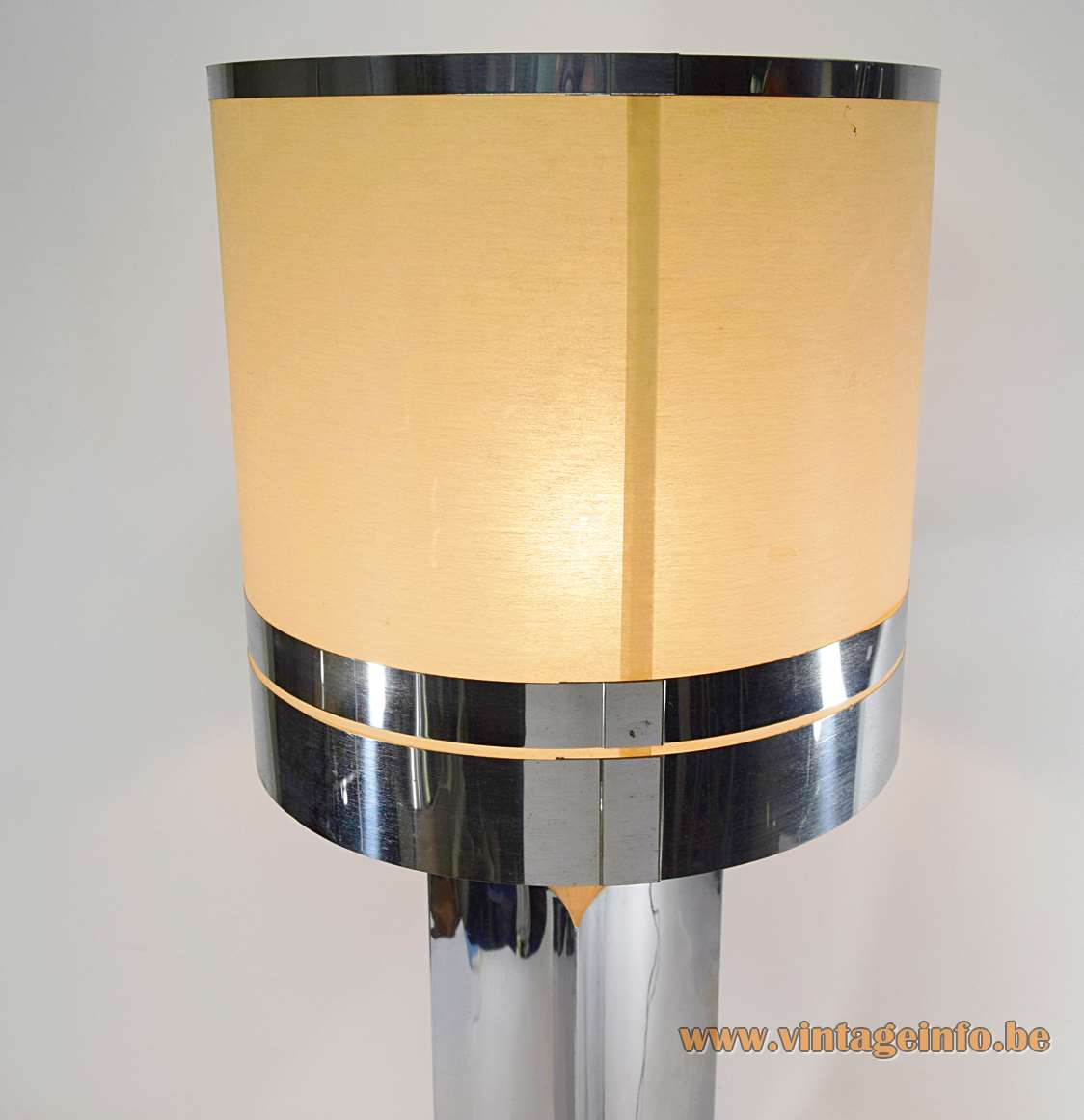 1970s concave square chrome table lamp metal base polyester lampshade chrome rings 1960s 1970s Italy