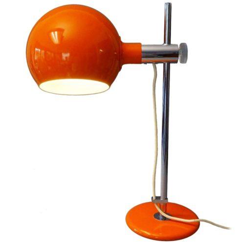 1970s Cosack globe desk table lamp orange chrome acrylic adjustment screw Gecos MCM