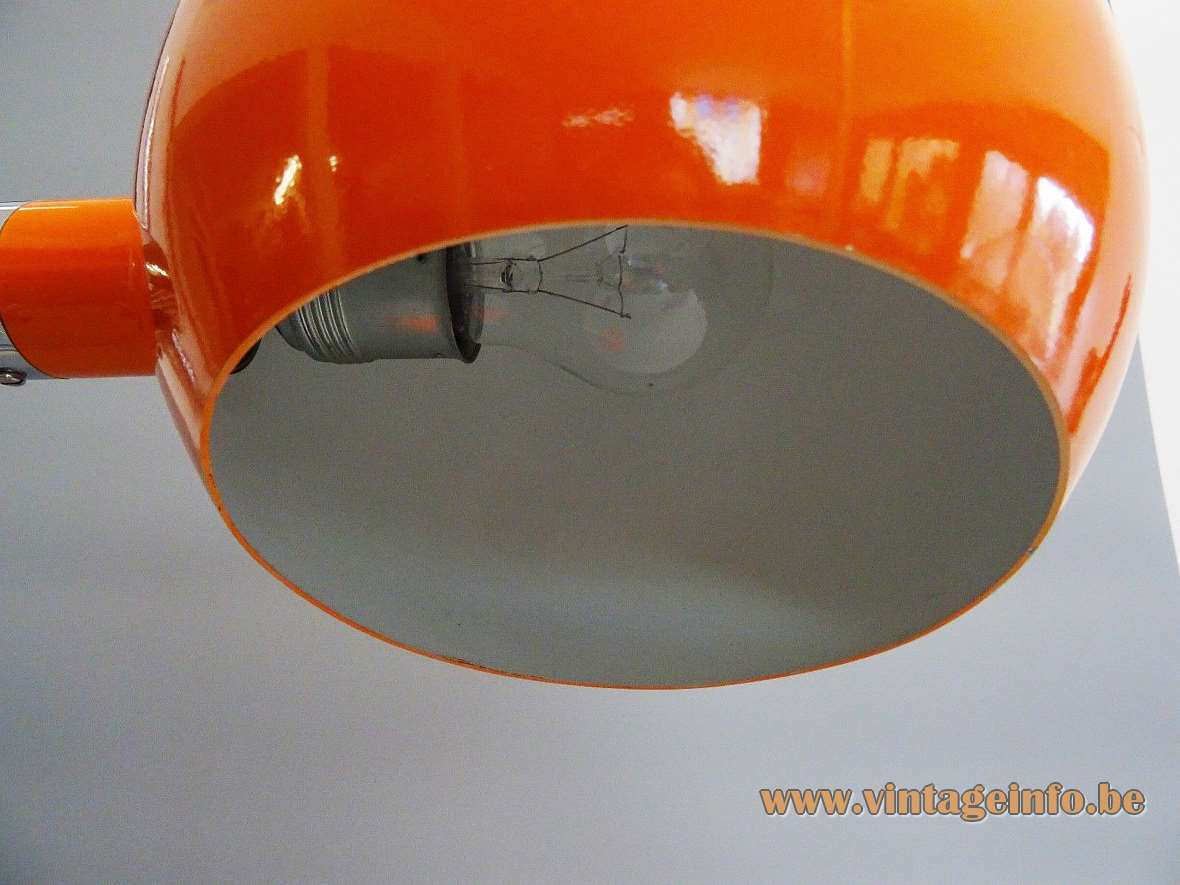 1970s Cosack globe desk table lamp orange chrome acrylic adjustment screw Gecos MCM