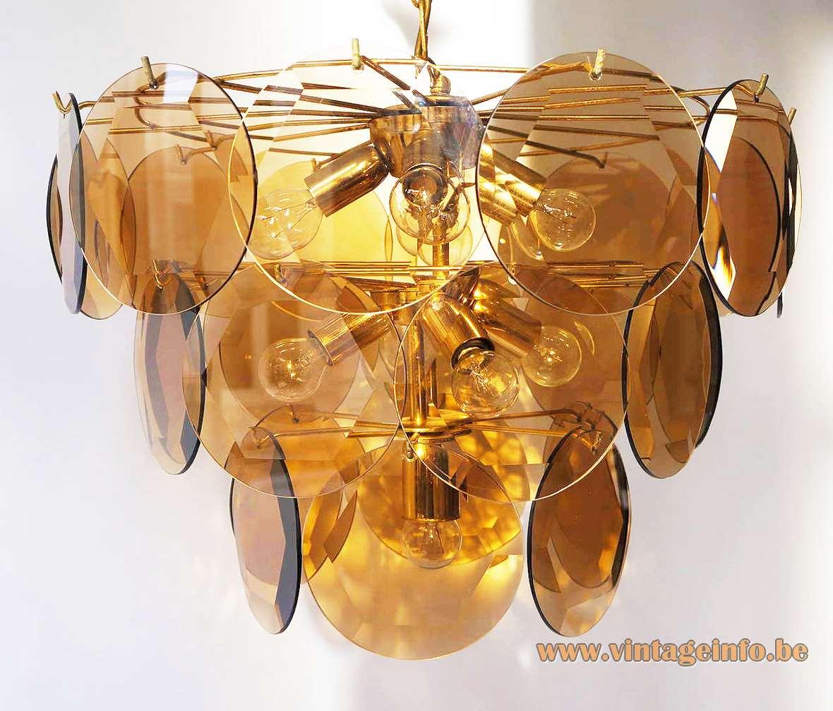 Smoked glass chandelier 27 discs facet-cut ORION Mazzega Vistosi Murano Italy 1970s MCM Mid-Century Modern
