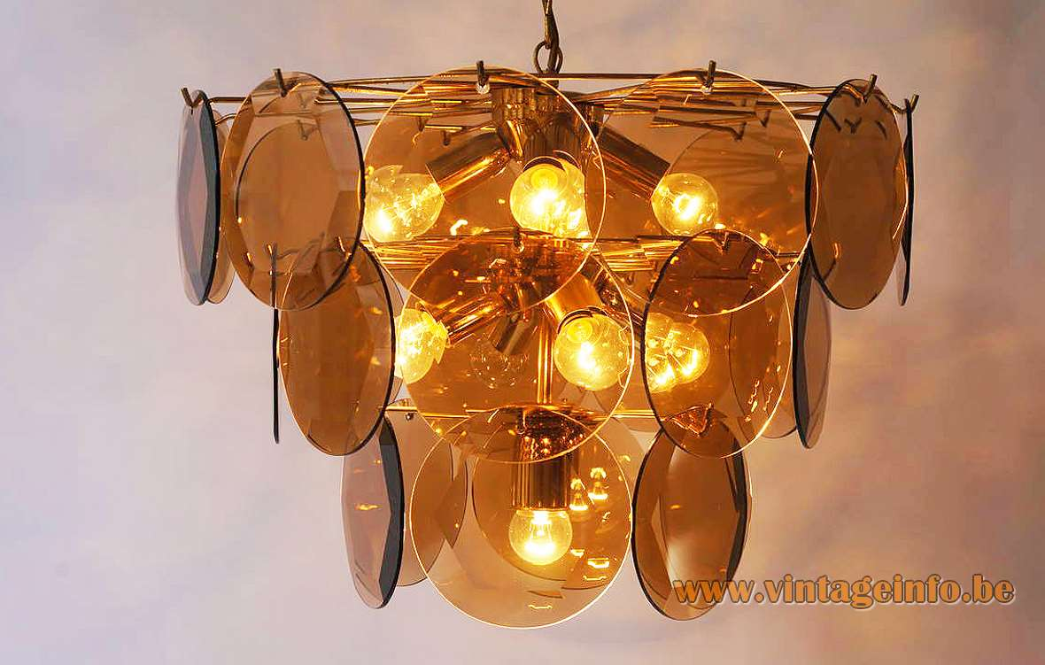1970s cut glass discs chandelier 27 smoked dishes facet-cut brass wire frame ORION Austria 1980s