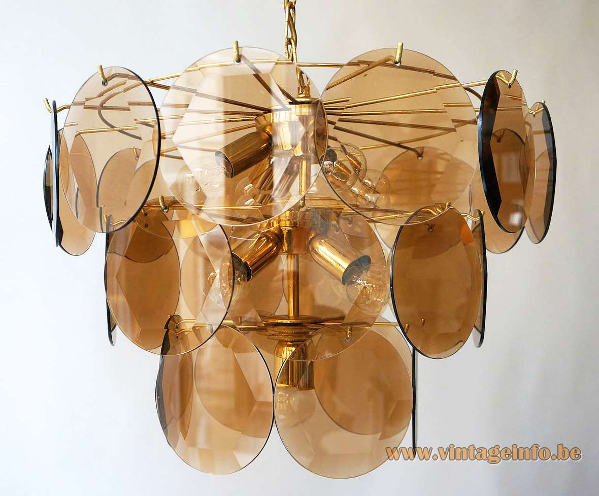 27 Discs Cut Smoked Glass Chandelier brass frame 1960s 1970s AV Mazzega Vistosi Venini Italy