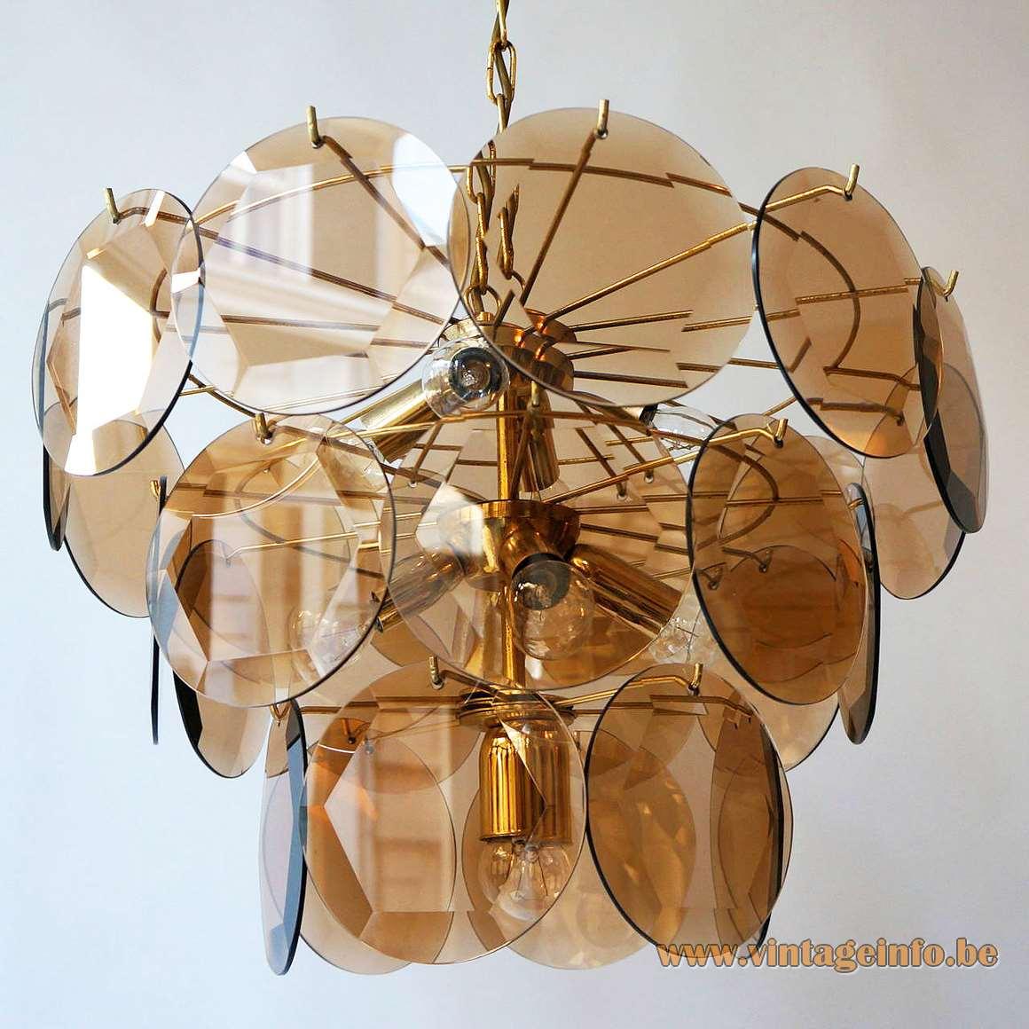 Murano Chandelier Wiki: 1970s Smoked Cut Glass Discs Chandelier –Vintage Info