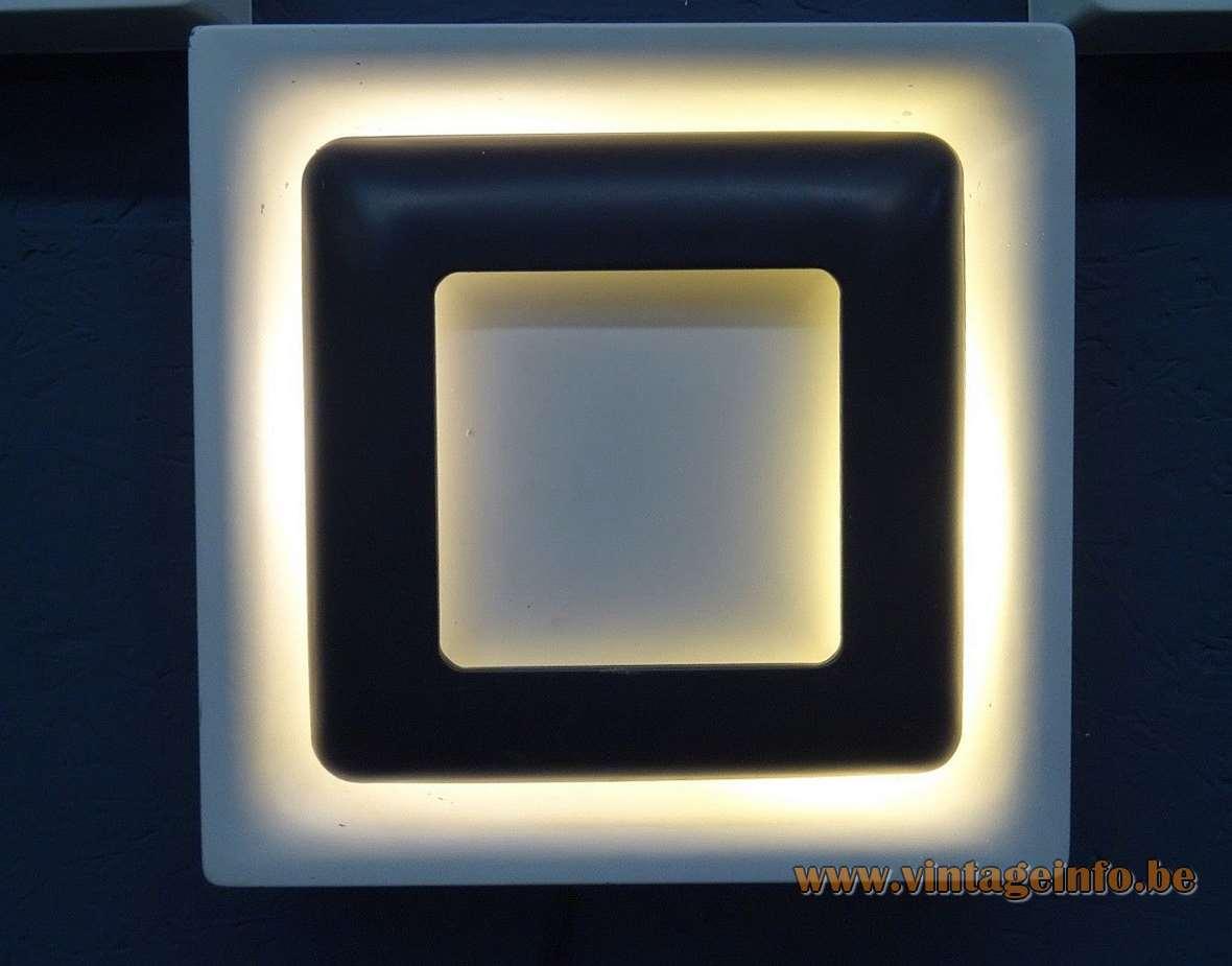 1970s Doria square metal wall lamp aluminium 2 bulbs E14 design award Germany MCM mid-century modern