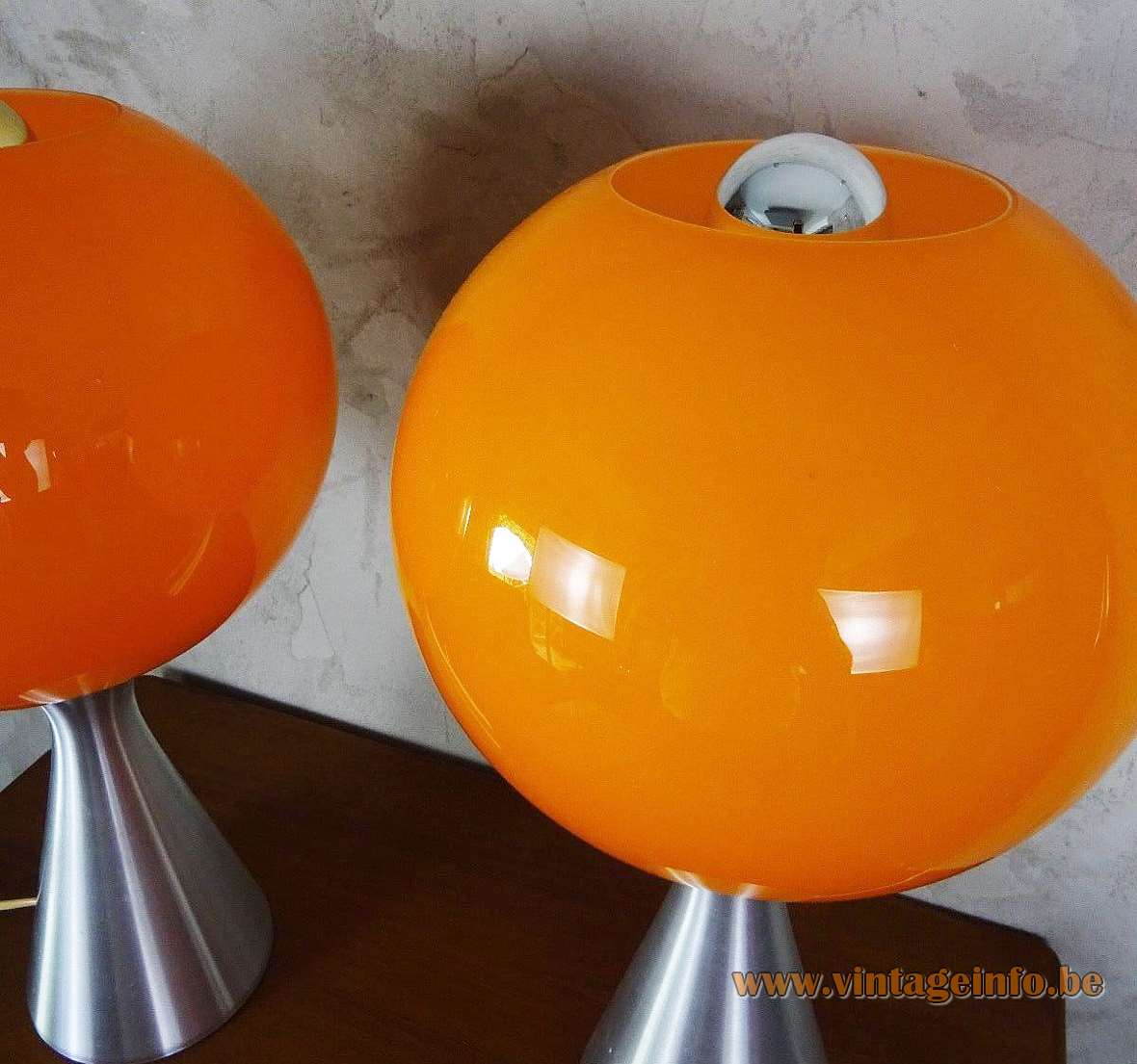1970s ERCO Globe Table Lamp orange glass ball aluminium conical base MCM Germany