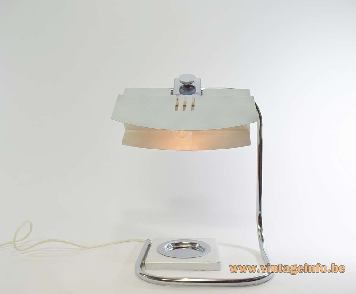 1970s Italian Ashtray Desk Lamp silver painted aluminium flat lampshade chrome folded rod Florence MCM