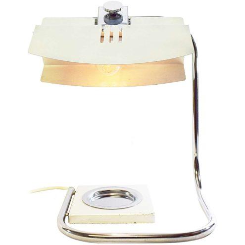 1970s Italian ashtray desk lamp square base folded chrome rod flat silver painted aluminium lampshade Florence