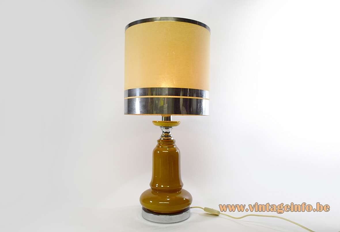 1970s ochre ceramics table lamp chrome bottom round base & lampshade 3 rings Massive Belgium E27 socket