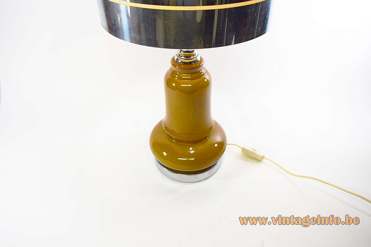 1970s Ochre Ceramic Table Lamp chrome base and decoration lampshade 3 rings MCM Massive Belgium