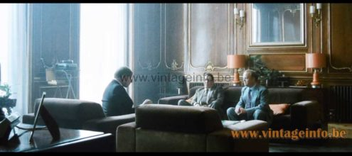 1970s ochre ceramics table lamp used as a prop in the 2011 film Tinker Tailor Soldier Spy