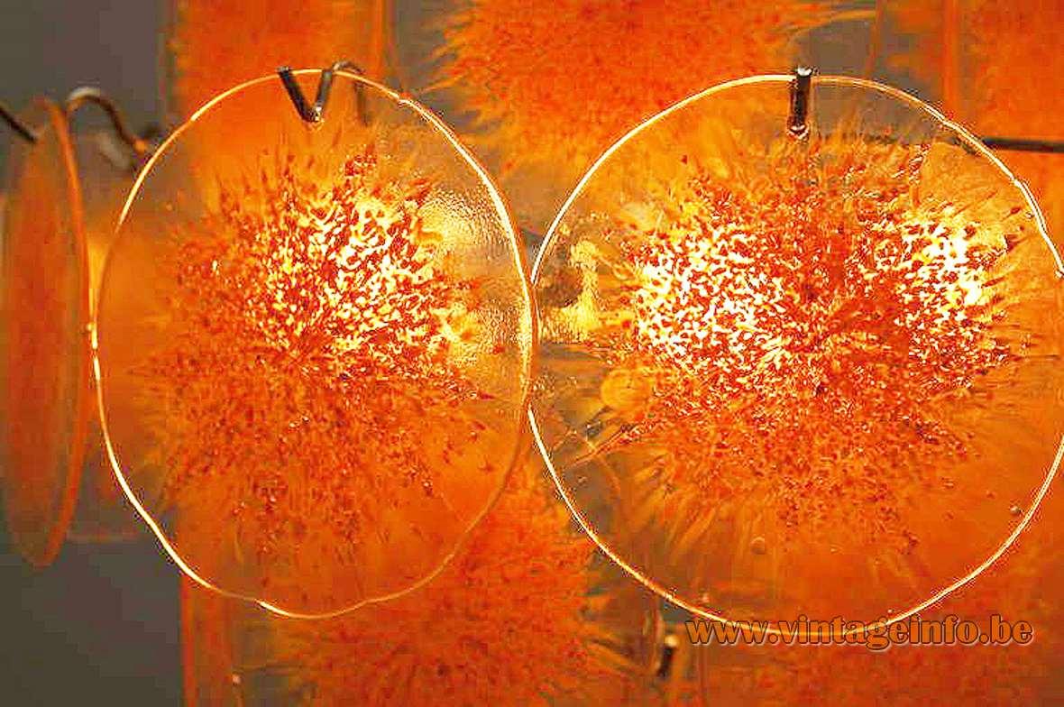 27 Discs Murano Chandelier chrome frame 1960s 1970s AV Mazzega Vistosi Venini Italy glass