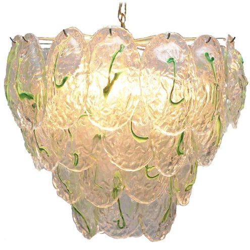 AV Mazzega green glass leaves chandelier 40 Murano leaves chrome frame chain 12 sockets 1960s 1970s