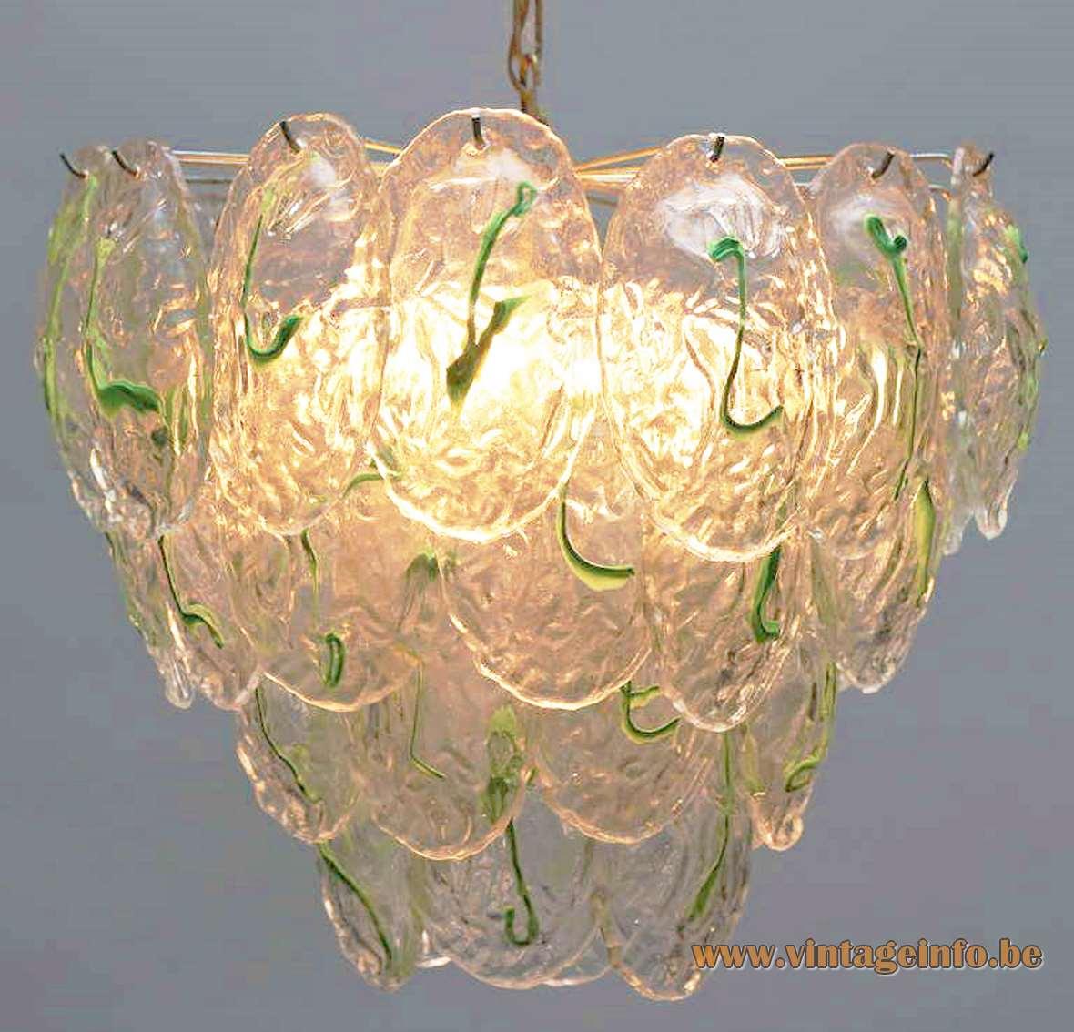 AV Mazzega 40 green clear glass leaves chandelier Murano 1970s 1960s MCM