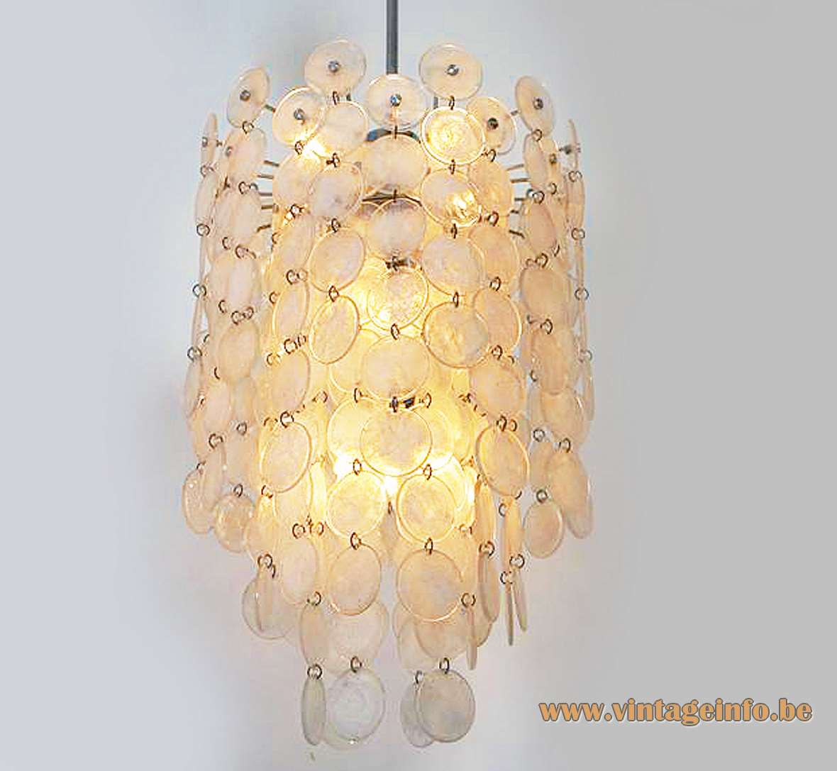 AV Mazzega Carlo Nason Thousand Moons Murano discs 1960s 1970s chandelier chrome frame