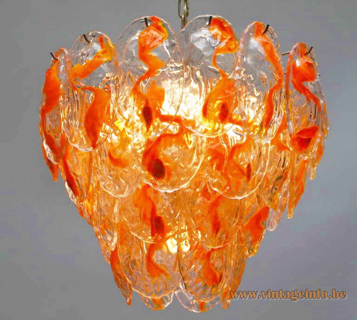 AV Mazzega 40 orange clear glass leaves chandelier Murano 1970s 1960s MCM