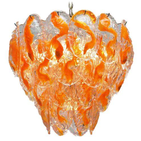 AV Mazzega orange glass leaves chandelier 40 Murano leaves chrome frame chain 12 sockets 1960s 1970s