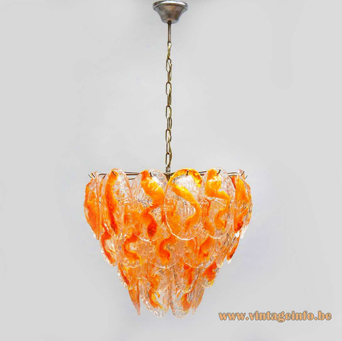 AV Mazzega orange glass leaves chandelier 40 Murano leaves chrome frame chain 12 sockets 1960s 1970s