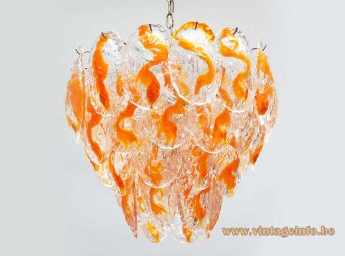 AV Mazzega Orange Glass Leaves Chandelier