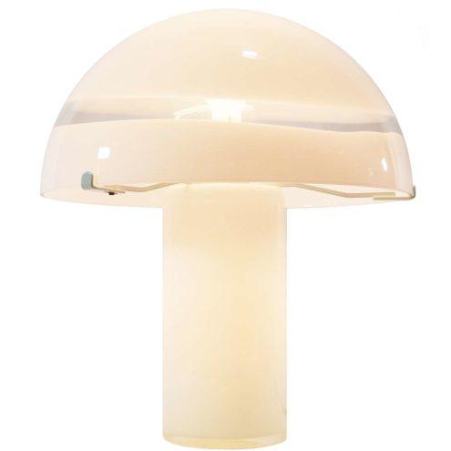 AV Mazzega mushroom table lamp 1975 design Carlo Nason Murano opal & clear glass 1970s Mid-Century Modern MCM
