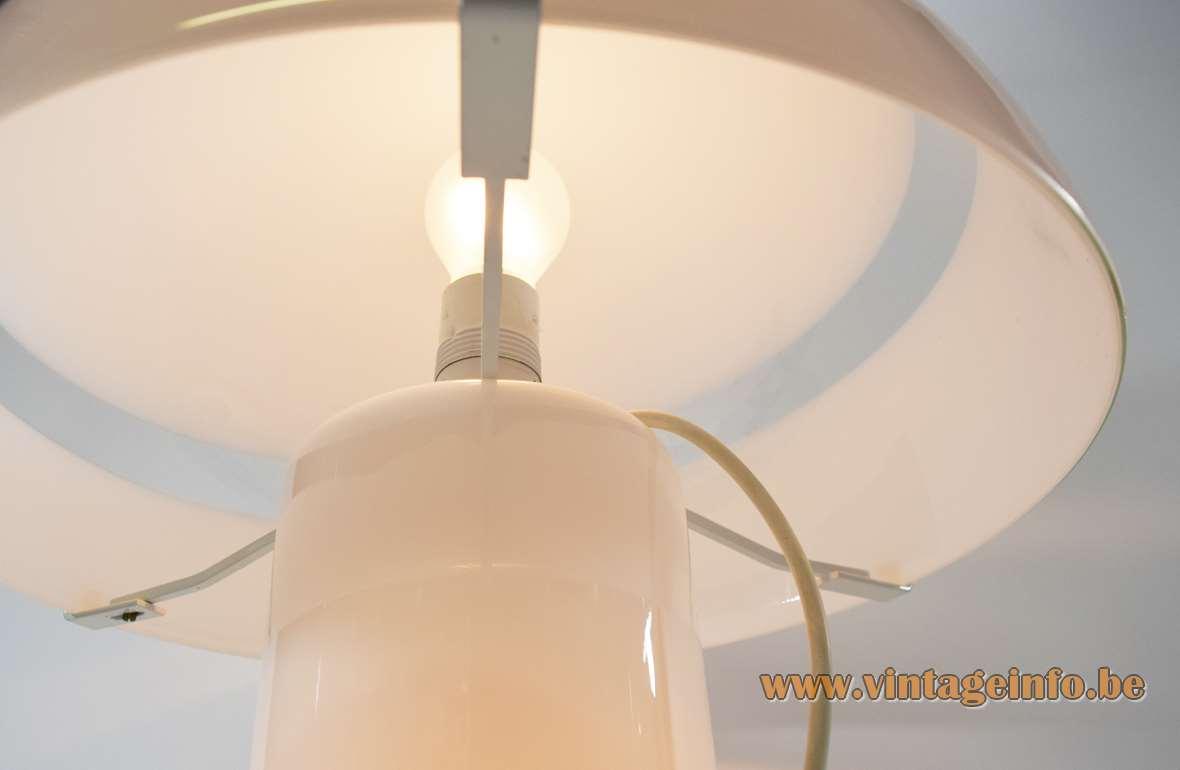 AV Mazzega Mushroom Table Lamp 1975 design Carlo Nason Murano opal clear glass hand blown