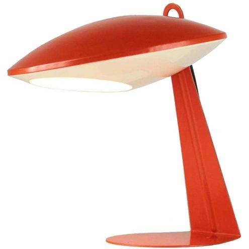 Aluminor UFO desk lamp flat iron base orange & white aluminium lampshade 1950s 1960s France E14 socket