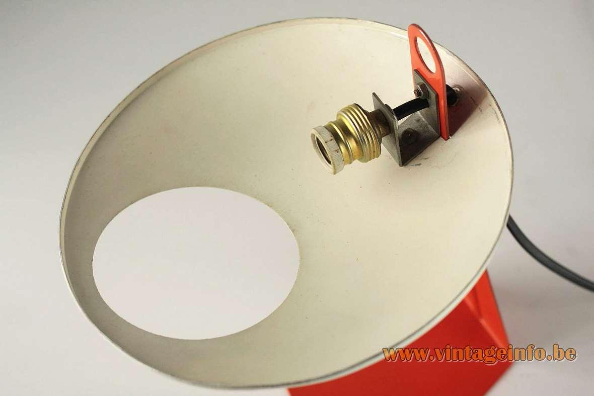 Aluminor UFO Desk Lamp orange white painted aluminium iron 1950s 1960s MCM perforated lampshade saucer round