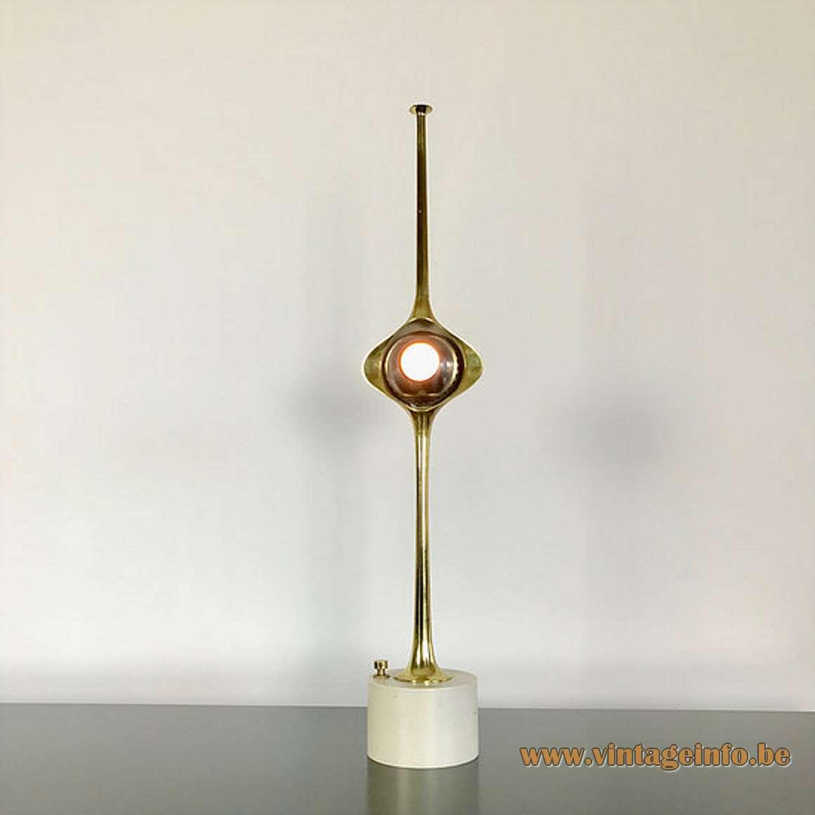 Angello Lelii Cobra table lamp white brass base long rod magnetised globe Lelli design 1960s Arredoluce