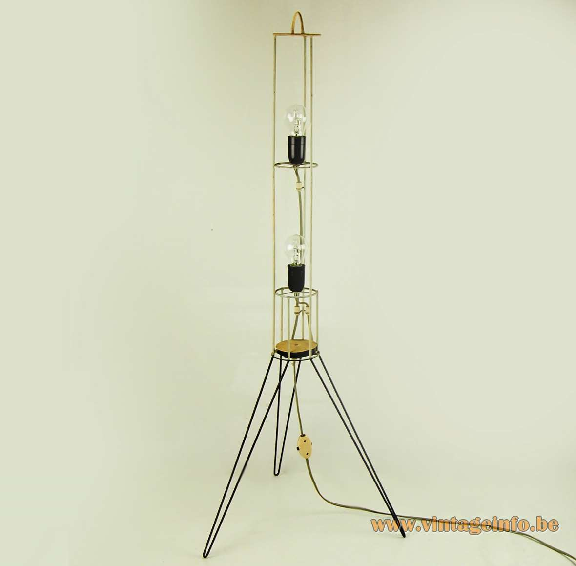 Aro Leuchte Tripod Hairpin Floor Lamp celluloid 1950s 1960s cylinder tube yellow Rhodoïd honeycomb Germany