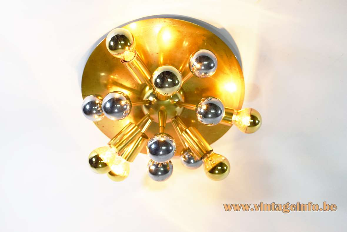 Boulanger brass Sputnik flush mount wall lamp big disc chrome globes 1960s 1970s Belgium 5 bulbs