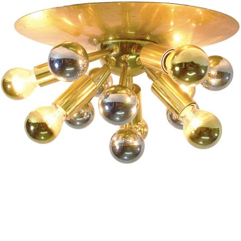Boulanger brass Sputnik flush mount or wall lamp with 5 E14 sockets from Belgium 1960s 1970s